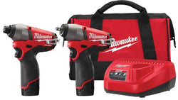 "Milwaukee 2595-22 M12 FUEL 3/8"" Impact Wrench 1/4"" Hex Driver Combo Kit"