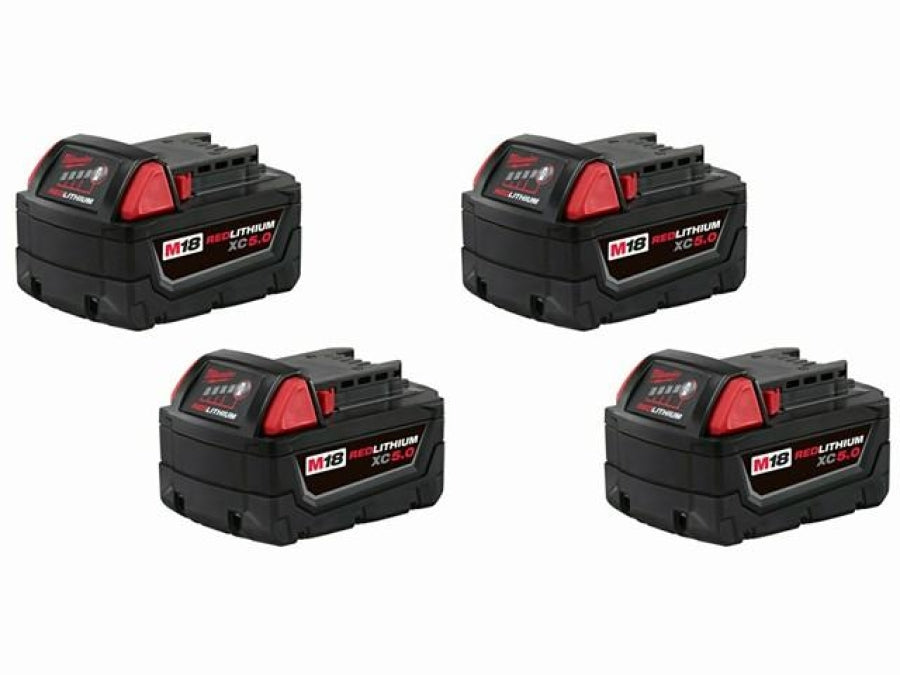 Milwaukee 48-11-1850 M18 Redlithium XC 5.0 Extended Capacity Battery 4 Pack