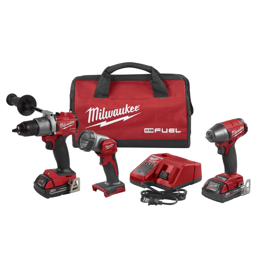 "Milwaukee 2991-23 M18 FUEL 3PC 1/2"" Drill, 3/8"" Impact Wrench & Light Kit"
