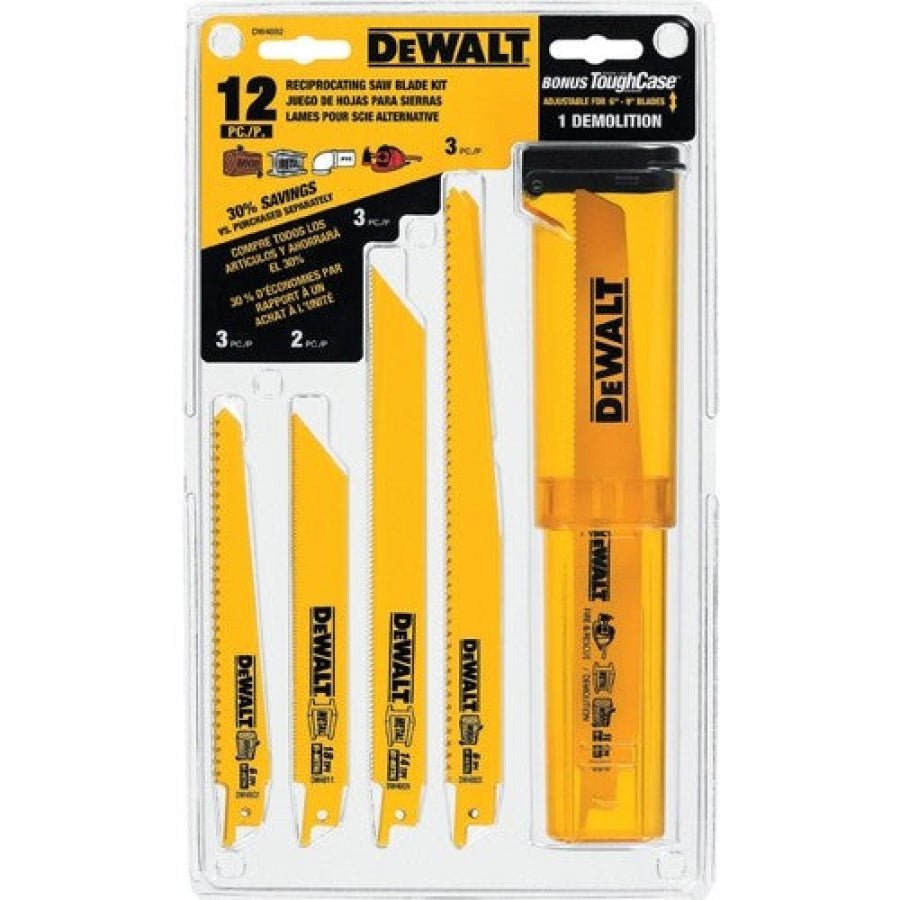 Dewalt 12-Piece Reciprocating Saw Blade Set with Telescoping Case DW4892