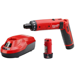 "Milwaukee 2101-22 M4 4v 1/4"" screwdriver kit w/ (2) batteries & charger"