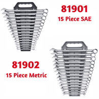 GearWrench 81901 & 81902 15pc SAE / 15pc Metric Long Combination Wrench Sets