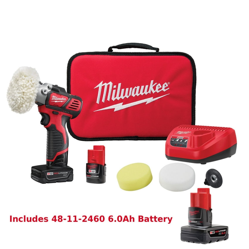 Milwaukee M12 Variable Speed Polisher/Sander Kit 2438-22X Free 6.0 Battery