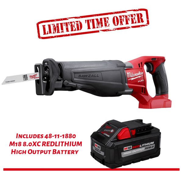 Milwaukee 2720-20 M18 FUEL SAWZALL Reciprocating Saw & 48-11-1880 M18 8Ah Battery