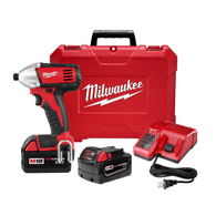 "Milwaukee 2650-22 M18 1/4"" Hex Impact Driver Kit w/(2) XC Batteries Charger & Ca"