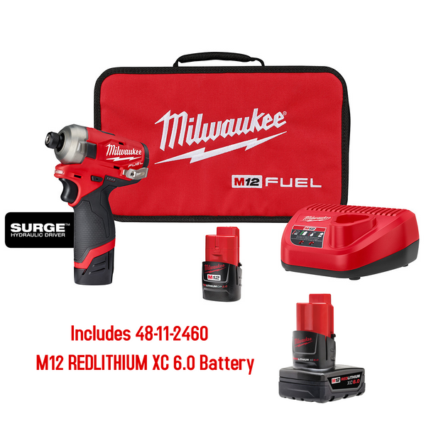 "Milwaukee 2551-22 M12 FUEL SURGE 1/4"" Impact Driver Kit w/ M12 6.0 XC Battery"