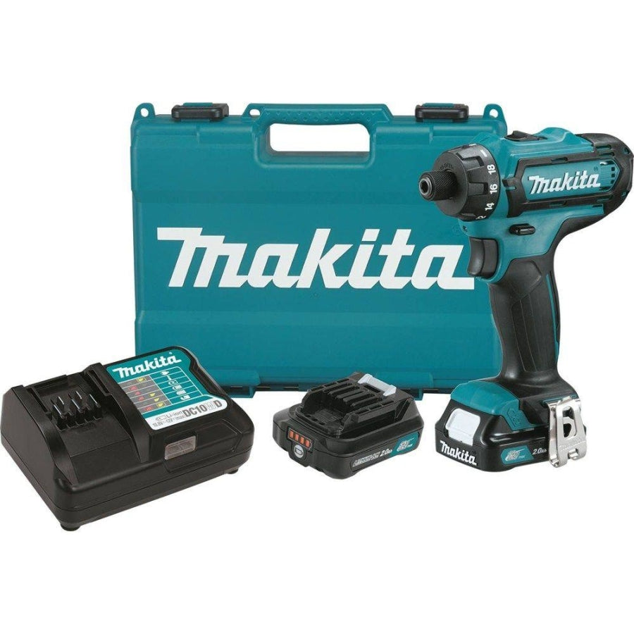 "Makita 12V Max CXT 1/4"" Hex Drill/Driver kit w/2 2Ah Batteries, Charger & Case FD06R1"