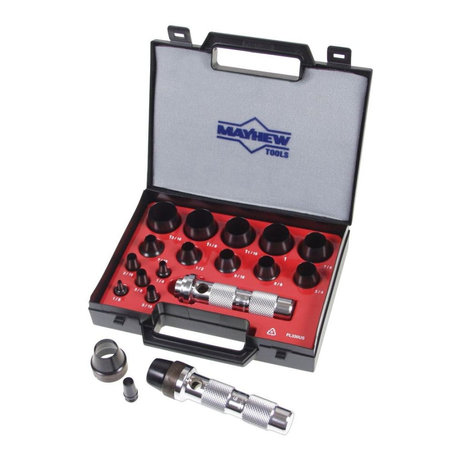 Mayhew 1/8 in. to 1-3/16 in. Imperial Hollow Punch Set (16-Piece) 66000
