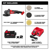 "Milwaukee 2738-22P M18 FUEL 7"" Variable Speed Polisher Kit w/(2) 5Ah Batteries"