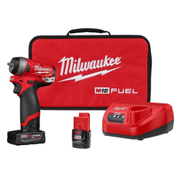 "Milwaukee M12 FUEL Stubby 1/4"" Impact Wrench Kit w/4Ah&2Ah Batteries 2552-22"