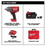 "Milwaukee 2767-22 M18 FUEL 1/2"" High Torque Impact Wrench Kit w/(2) 5Ah Batteries"