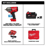 "Milwaukee 2863-22 M18 FUEL ONE-KEY High Torque 1/2"" Impact Wrench Kit w/(2) 5Ah Batteries"