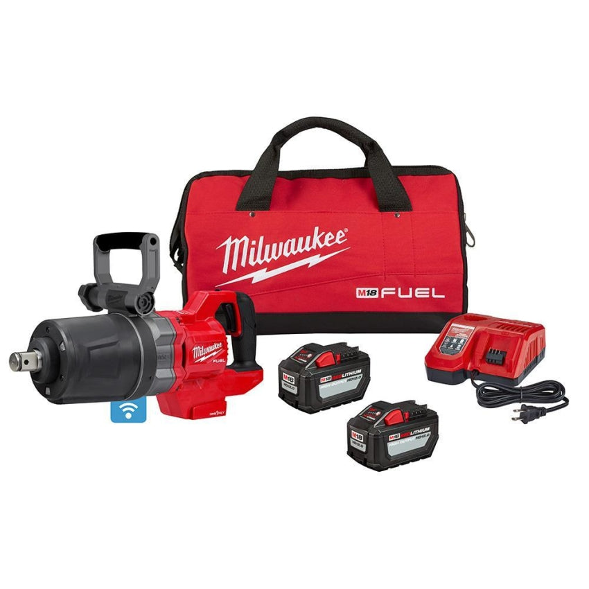 "Milwaukee 2868-22HD M18 FUEL 1"" D-Handle Impact Wrench Kit w/(2) 12Ah batteries,"