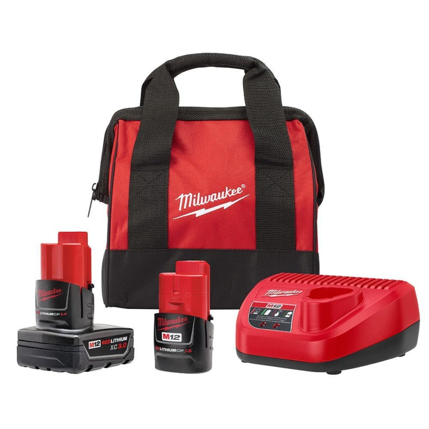 Milwaukee 48-59-2402SP M12 3Ah/1.5Ah Starter Kit w/Bag