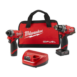 "Milwaukee 2596-22 M12 FUEL 1/2"" Drill & 1/4"" Impact Driver w/2 Batteries,  Charger & Bag"