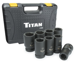 "Titan Tools 41908  8Pc 1"" Drive Metric Deep Impact Socket Set"