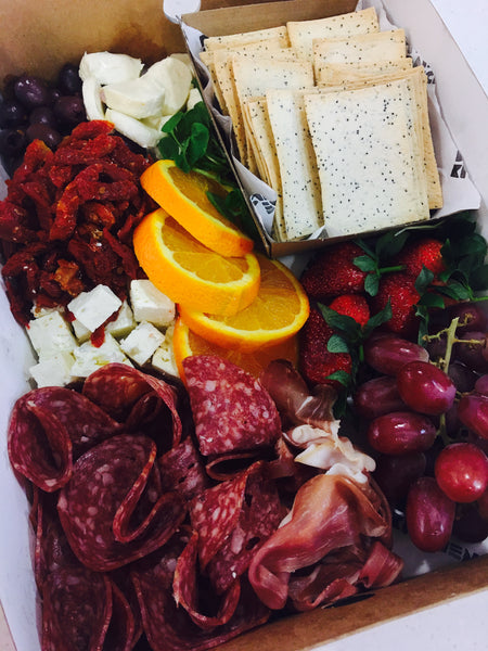 A Selection of:  Cheese  Cold Meats Semi-Sundried Tomatoes Fruit Lavosh Crackers
