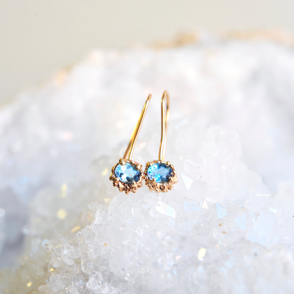 Aquamarine Drip Earrings- 14k