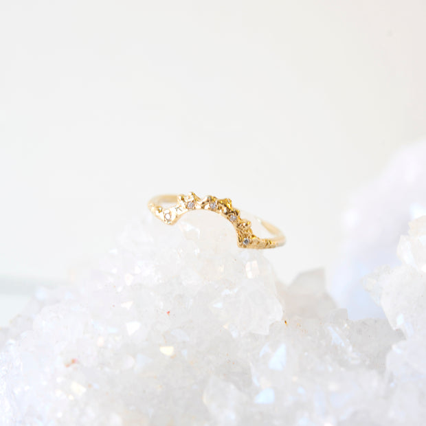 Gold Arch Ring with Diamonds