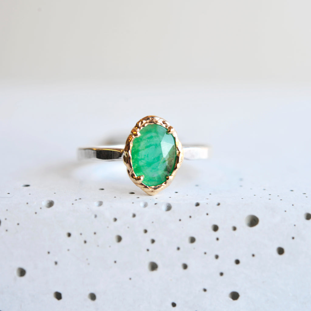 Oval Tourmaline Ring - Mixed Metal