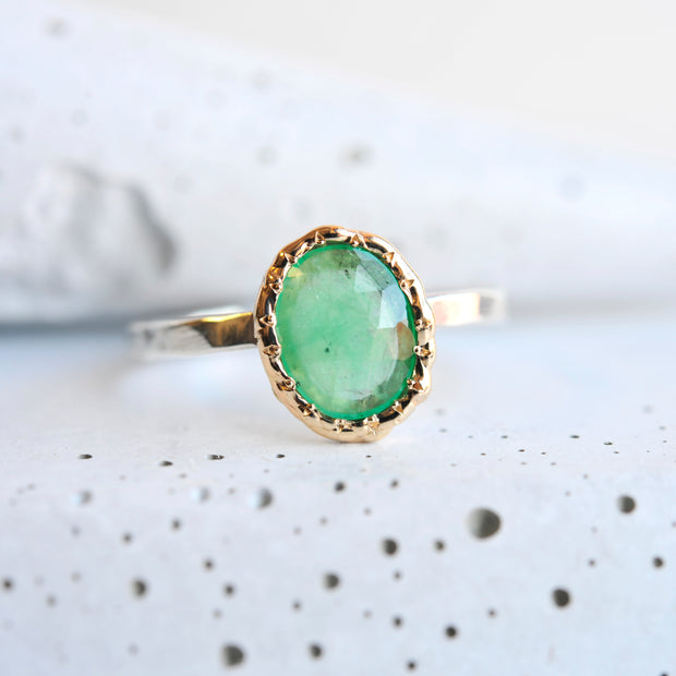 Mixed Metal Light Green Tourmaline Ring