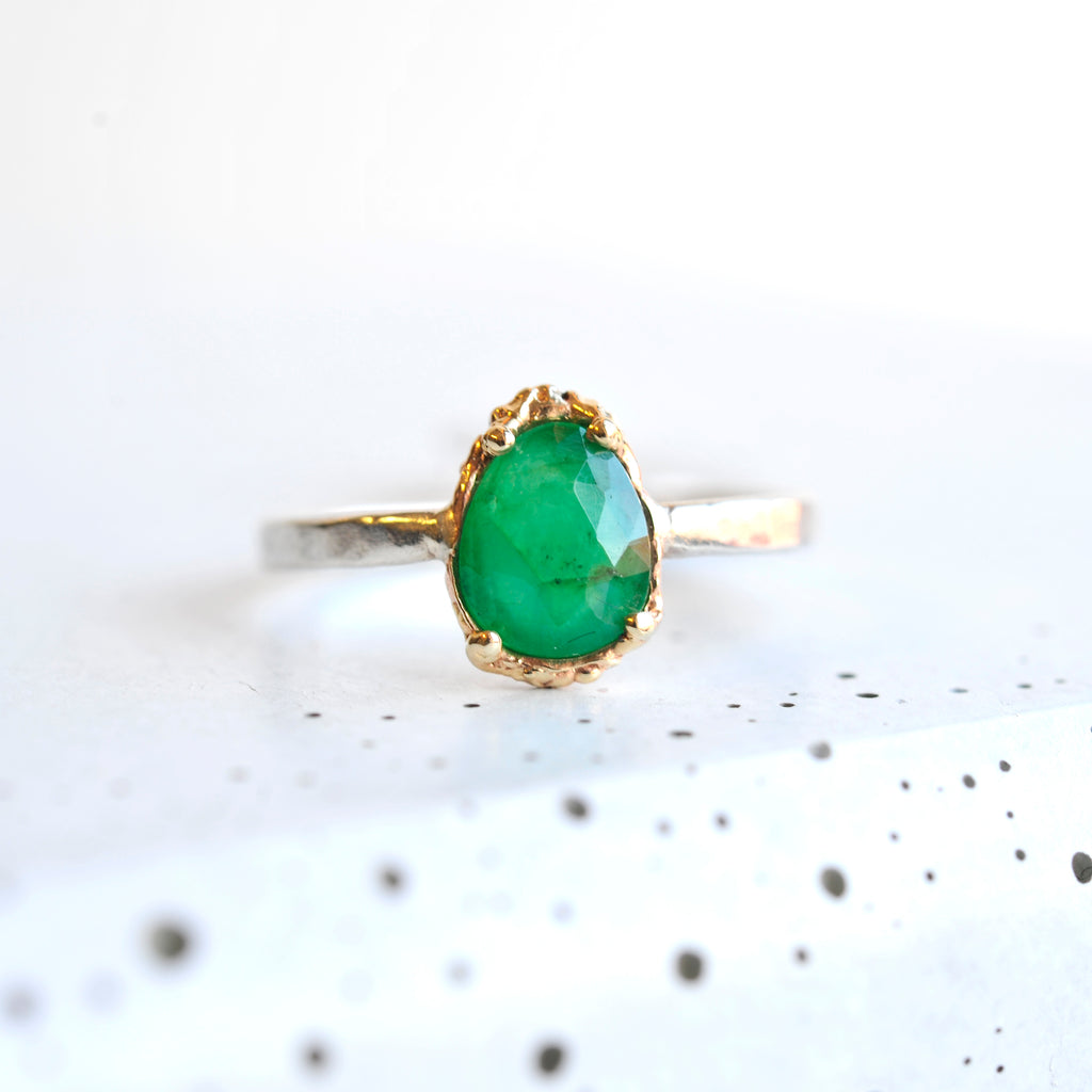 Egg Shaped Tourmaline Ring - Mixed Metal