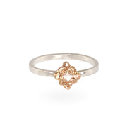 Mixed Metal Rose Gold & Diamond Dot Ring