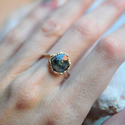 Mixed Metal Polygon Tourmaline Ring