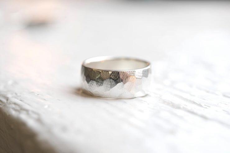 Wide Carved Band - Sterling Silver