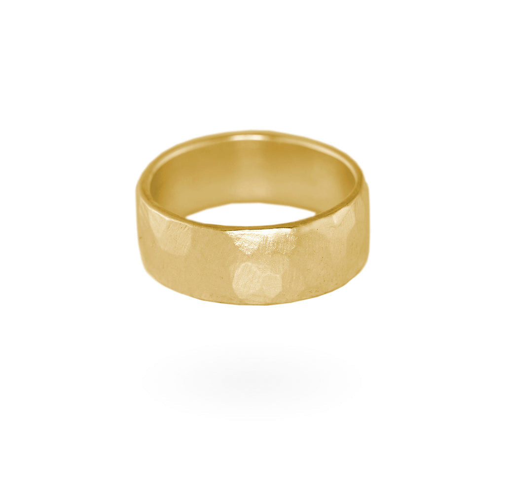 Wide Hammered Band - 14k Gold