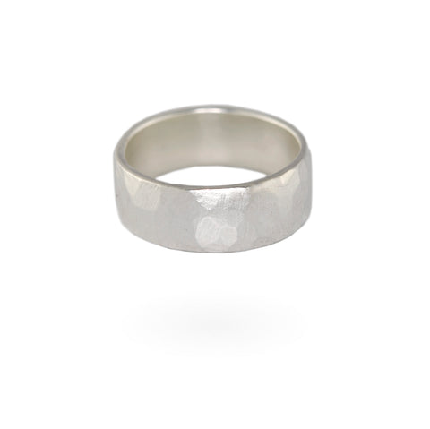 Wide Hammered Band - Sterling Silver