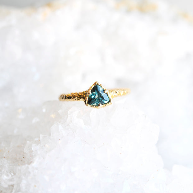 Trillion Teal Tourmaline Ring