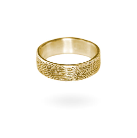 Wood Grain Band - 14k Gold