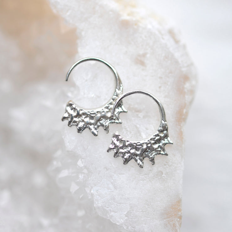 Jagged Mini Hoops - Silver