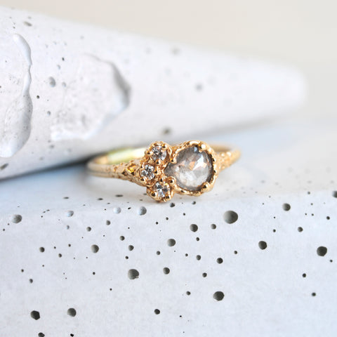 Grey Pear Diamond- 14k Gold