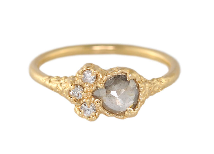 Pear-Shaped Grey Diamond Engagement Ring