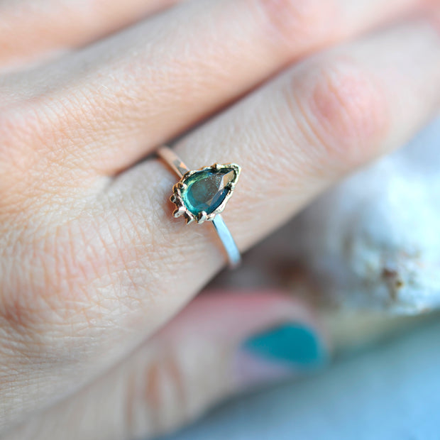 Mixed Metal Teal Dripping Tourmaline Ring