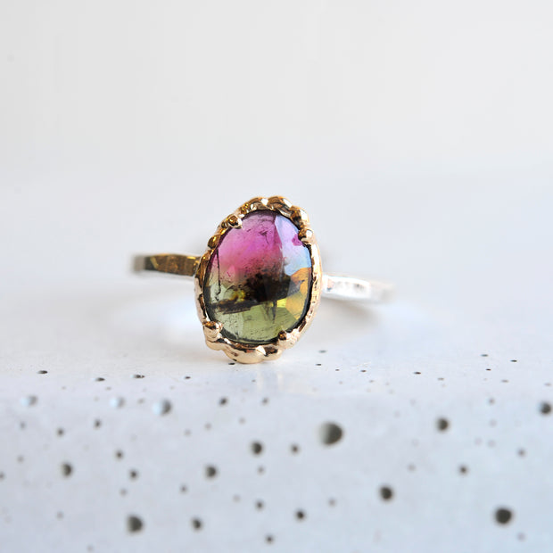 Mixed Metal Dual Tone Tourmaline Ring