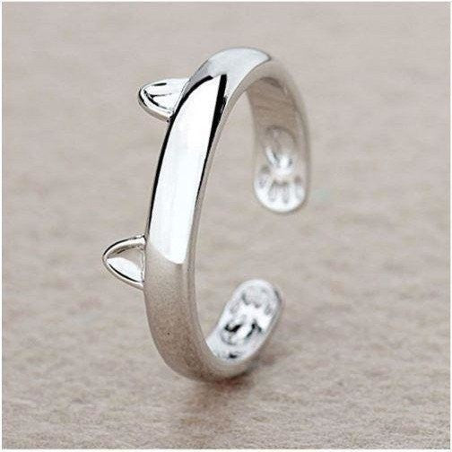 Silver Cat Ring-Ring-Orizzon Store