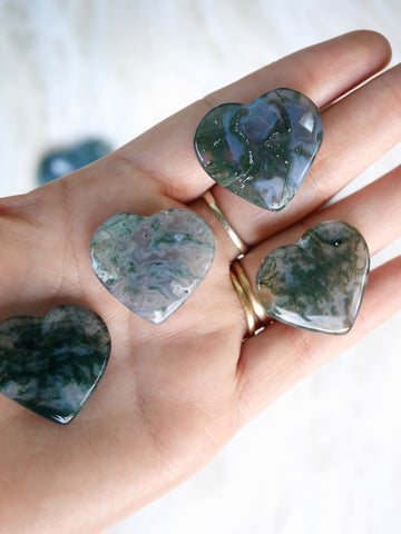 Moss Agate mini heart