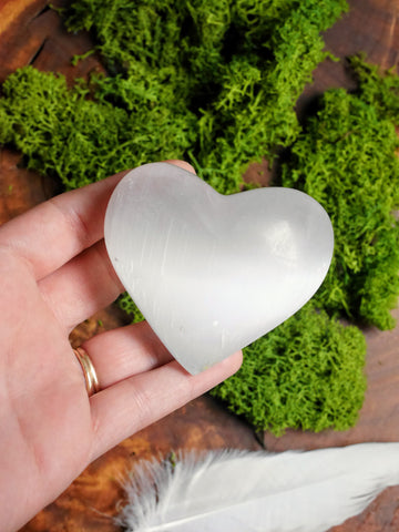 Selenite Heart Carving