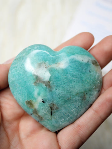 Amazonite heart carving