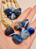 Blue agate tumbled stones