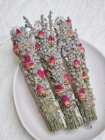 Floral Smudge stick - Lavender and Rosebud