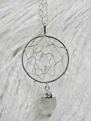 Quartz dream catcher necklace