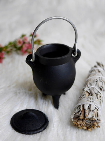Tiny Cast Iron Cauldron With Lid