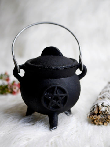 Small Pentacle Cast Iron Cauldron With Lid
