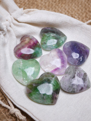 Rainbow Fluorite Mini Hearts
