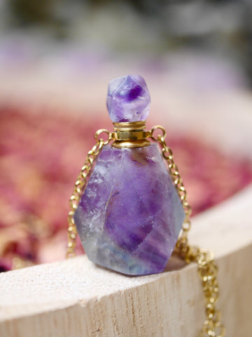 Fluorite Essential Oil / Perfume Bottle Necklace