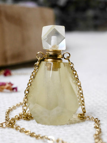 Lemon Quartz Essential Oil / Perfume Bottle Necklace